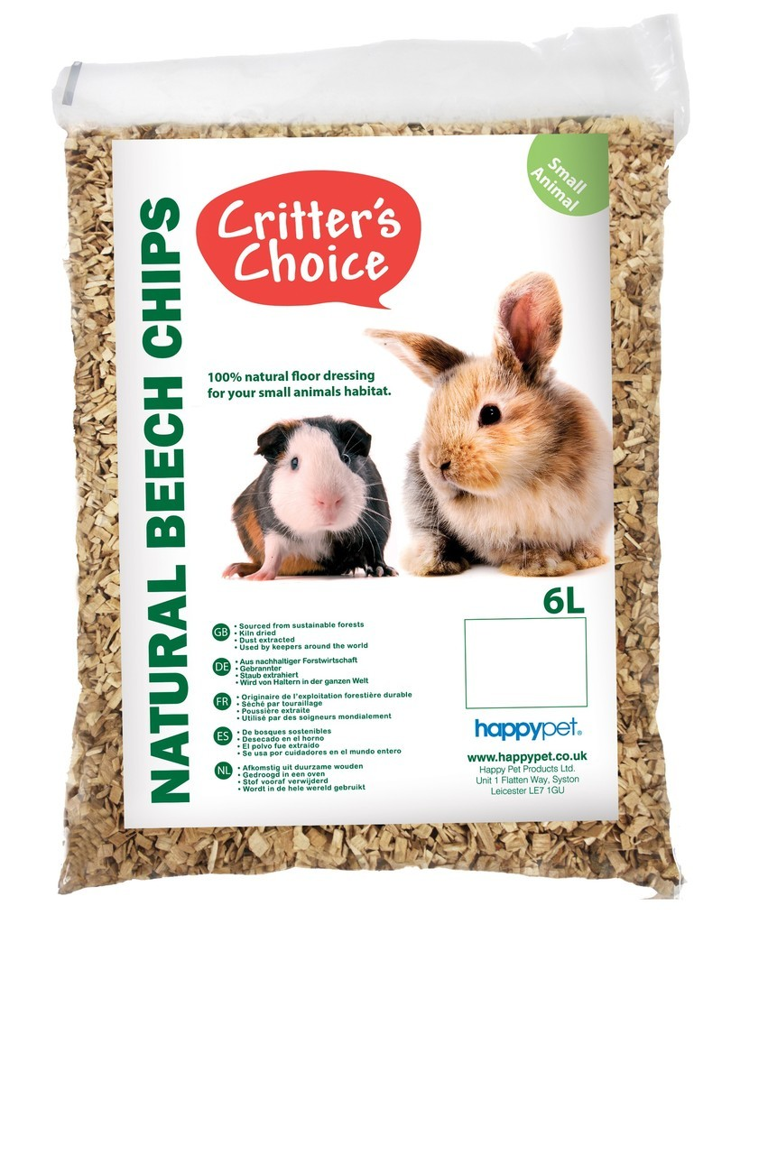 Critter's Choice Beech Chips Fine 6L Small Animal Cage Bedding